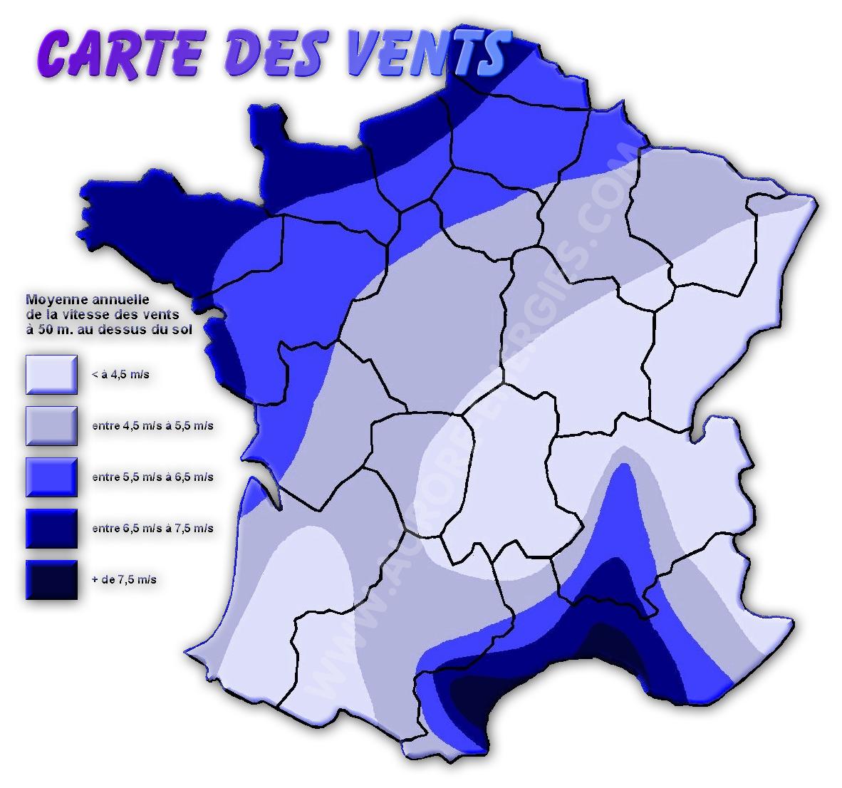 CARTE DES VENTS EN FRANCE ET POTENTIEL ÉOLIEN